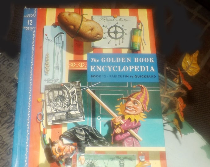 Mid-century (1959) Golden Book hardcover Children's Encyclopedia Volume 12 Pa to Q. Published by Simon & Schuster USA. Complete.