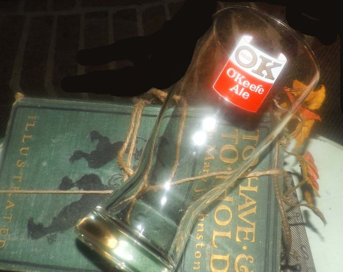 Vintage (1980s) O'Keefe Ale OK O'Keefe half-pint beer glass.  Etched-glass artwork, tapered shape, weighted base.