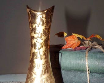 Vintage (1960s) Holly Ross Weeping Gold 22K gold, hand-painted bud vase.  Made in Pennsylvania, USA.