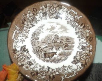 Vintage (1960s) J&G Meakin Romantic England brown transferware orphan saucer only (no cup) featuring Haddon Hall, cows.