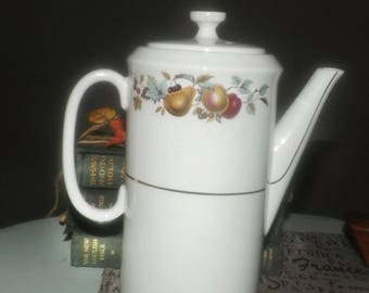 Mid-century (1950s) Barker Brothers Russet Glow tall coffee pot with lid.  Fruit imagery and gold bands on white.
