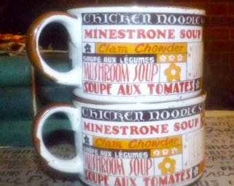 Pair of vintage (1970s) rustic | country kitchen stackable Japan stoneware soup mugs. Soup wording in English and French, speckled ground.