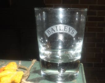 Vintage Baileys Irish Cream tulip-shaped glass. Etched-glass wording in frosted banner. Commercial quality, weighted base.