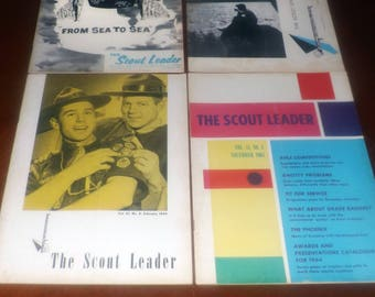 Four complete issues of vintage (1960s) The Scout Leader: Magazine of the Canadian Boy Scouts. July 1960, 1961, November 1963, February 1964