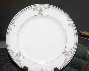 Vintage (1980s) Princess House Heritage Blossom salad or side plate. Made in Japan. Peach flowers, blue leaves, tan and blue bands.