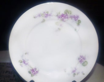 Early mid-century (early 1940s) Victoria China Austria VTO222 salad or side plate. Sprays of pink flowers and violets, greenery, violets.