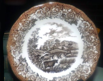 Vintage (1960s) J&G Meakin Romantic England Brown transferware fruit nappie, dessert, sauce, or berry bowl. Haddon Hall fields with cows.