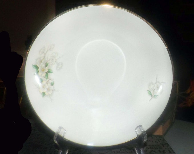 Early mid-century Georgian China Spring Blossom vegetable   serving bowl. 22K gold edge Made in USA.