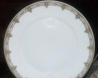 Antique Victorian-era (1870s) Fuisseaux de Baudour Limoges art nouveau luncheon plate made in France. Rose sprays. Sold individually.