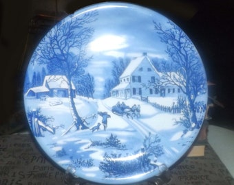 Vintage blue-and-white Currier & Ives Christmas | Winter landscape large dinner plate | charger. Horse and sleigh, boy, dog, farm house.