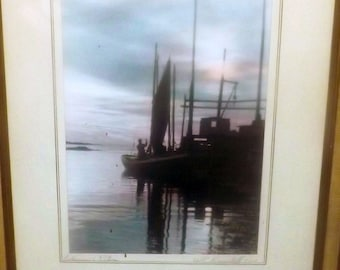 Quite vintage (1935) Wallace Robinson MacAskill original hand-tinted, signed photo in wooden frame.  Fisherman's Return.