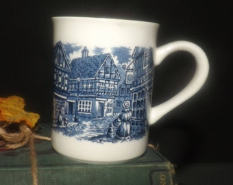 Vintage (1970s) English Ironstone Tableware | EIT Dickens Series Blue coffee or tea mug. The Old Curiosity Shop. Made in England.