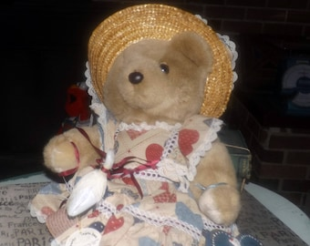 Vintage (1980s) Bearly People GG16 Goose Girl stuffed | plush teddy.  All original tags, goose and wooden plaque.