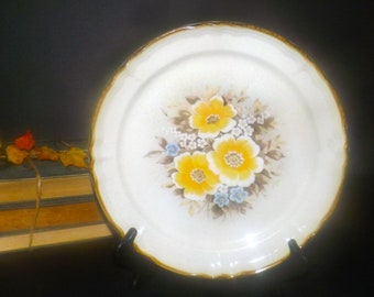 Vintage (1970s) Royal Sealy Spring pattern large stoneware dinner plate.  Vintage stoneware made in Japan.