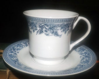Vintage (mid 1990s) Royal Heritage Country Cottage blue-and-white toile-like tea set (cup with matching saucer). Blue florals on white.
