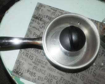 Vintage (mid-late 1990s) Forum Stainless Steel saucepan with glass lid.  All stainless. Made in Canada.