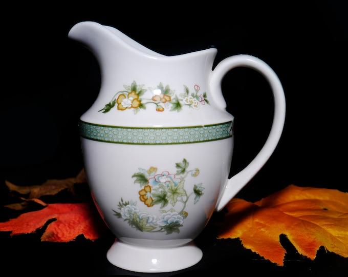 Vintage (1970s) Royal Doulton Tonkin TC1107 creamer or milk jug. Green Indian Tree motif. Made in England.