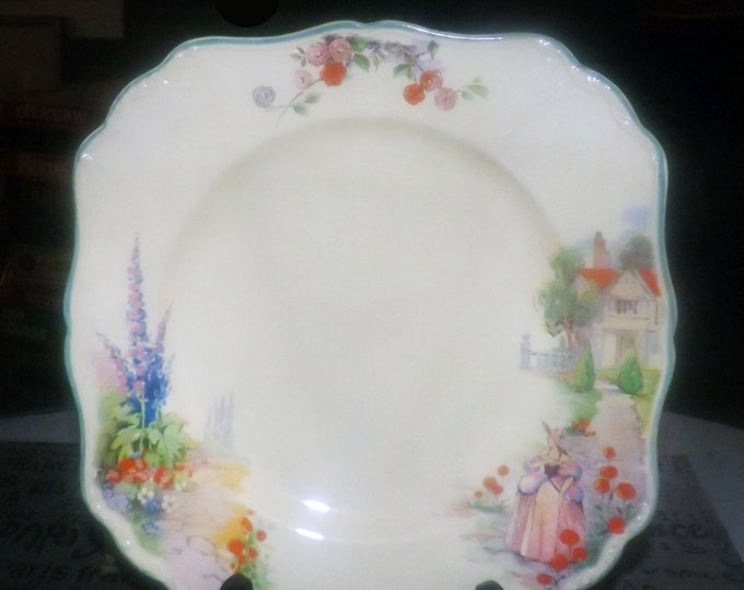 Antique (1910-1918) J&G Meakin June hand-decorated art-nouveau square luncheon or serving plate. Lady, garden scene. SOL Sunshine ironstone.