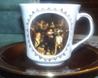 Vintage (1970s) Kronester Bavaria cappuccino or espresso set (cup with saucer). People in medieval dress, gold edge, ribbed.