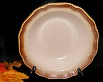Vintage (1980s) Mikasa Japan Whole Wheat E8000 round stoneware vegetable serving bowl. Vintage stoneware made in Japan.