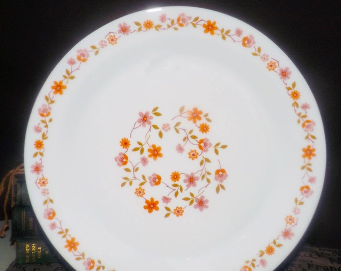 Vintage (1970s) Arcopal Scania milk glass large dinner plate | charger. Orange, pink flowers. Milk glass.