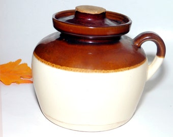 Almost antique (1920s) Prohibition-era Ramsbottom Roseville Pottery handled crock | bean pot with lid made in USA. Flaws (see below).