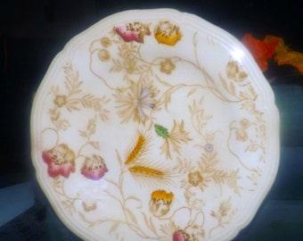 Antique (1891-1907) Wood & Sons Poppyland hand-decorated bread-and-butter, dessert, or side plate. Scalloped and embossed edge.