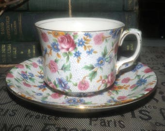 Vintage (1930s) Royal Winton Grimwades Old Cottage Chintz tea set made in England. Flawed (see below).