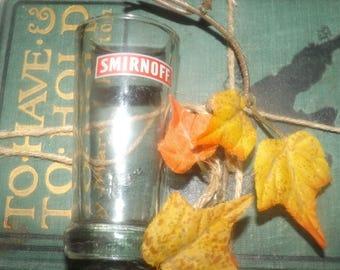 Vintage (1980s) Smirnoff Vodka branded single shot | shooter glass.  Etched and embossed Smirnoff wording and logo.