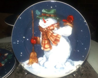 Set of 4 Christmas salad or side plates. Snowmen. The Edith Collection by Mary Parker. Made for Sears in Canada.