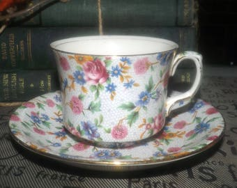 Vintage (1930s) Royal Winton Grimwades Old Cottage Chintz hand-decorated cup and saucer set made in England.