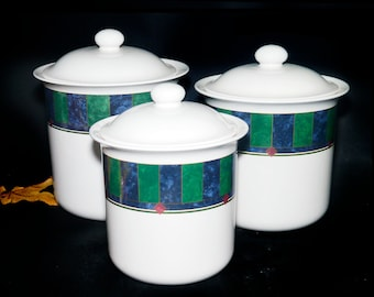 Set of three vintage Pfaltzgraff Amalfi Classic stoneware canisters flour, sugar, coffee. Vintage stoneware made in the USA.