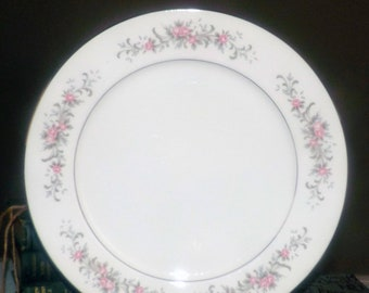 Vintage (1970s) Premiere Fine China Japan Rose Garden pattern 3740 chop plate | round platter. Rose sprays, blue florals, platinum edge.