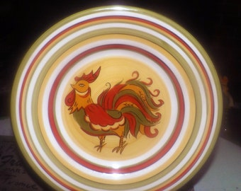 Vintage (1995) Tabletops Gallery   HD Designs Rafeal Rooster salad or side plate. Hand-painted stripes, rooster center.