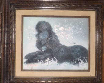 Antique (attributed late 1800s) impressionist oil painting on canvas. Black poodle. Signed bottom left. Heavily carved, solid wood frame.