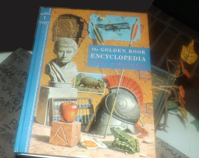 Mid-century (1959) Golden Book hardcover Children's Encyclopedia Volume 1 Aardvark to Army. Published by Simon & Schuster USA. Complete.