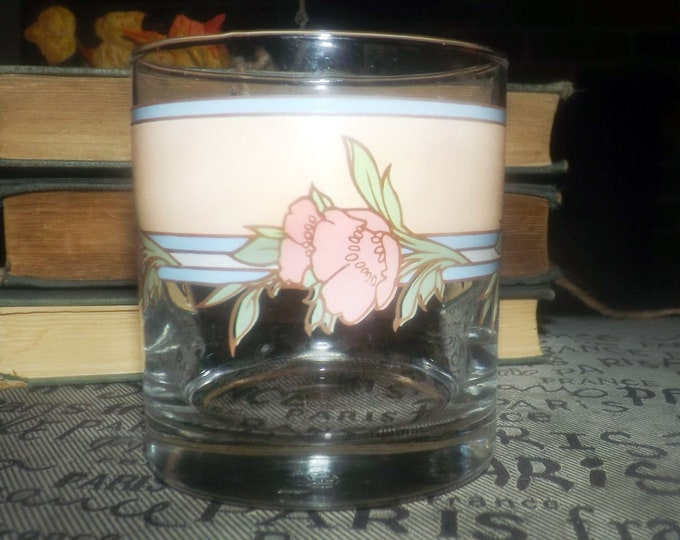 Vintage (1980s) Cutler etched-glass lo-ball | old-fashioned | on-the-rocks | whisky glass. Pink flowers, peach blue bands. Made in USA.