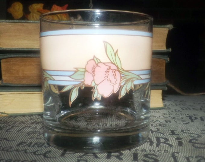 Vintage (early 1980s) Cutler USA etched-glass lo-ball | old-fashioned | on-the-rocks | whisky glass. Pink flowers, peach and blue bands.