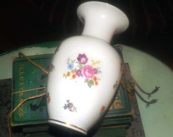 Mid-century (1950s) Reichenbach hand-painted vase. Multicolor florals broad gold rim. Made in Germany.