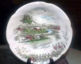 Vintage (1960s) Johnson Brothers The Road Home hand-decorated transferware coupe cereal bowl. English country village scene.