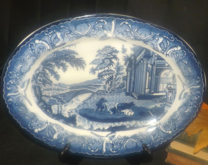 Vintage (1980s) Blue Willow | Chinoiserie large oval turkey or meat platter made in Japan. Fisherman with dogs.