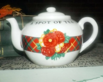 Vintage (1980s) A Spot of Tea Christmas teapot. Holly Holderman for Midwest Cannon Falls. Christmas plaid, florals. Made in Japan.