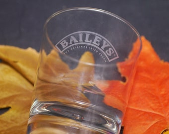 Vintage Baileys Original Irish Cream tulip-shaped glass.  Etched-glass Baileys wording in clear banner, weighted base.