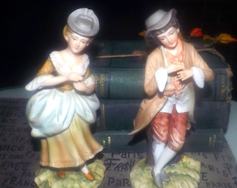 Pair of early mid-century (1940s) Lefton figurines male & female KW23248A | KW23248B. Victorian dress. Porcelain bisque.