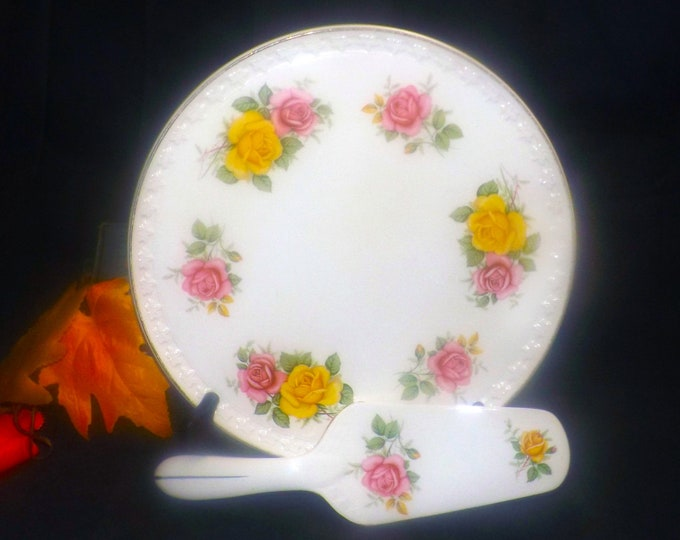Mid-century Aynsley HAY19 round cake serving plate with matching lifter. Yellow pink roses made in England.