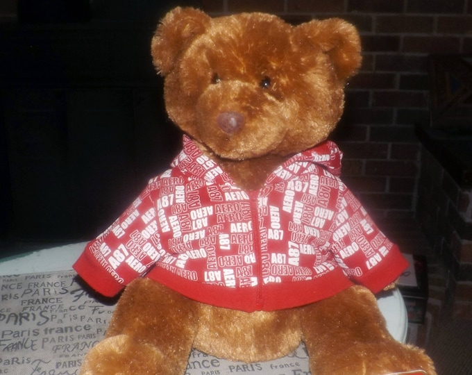 Vintage (mid 1990s) Aeropostale teddy bear | plush bear in removable, zippered red-and-white Aeropostale hoodie.