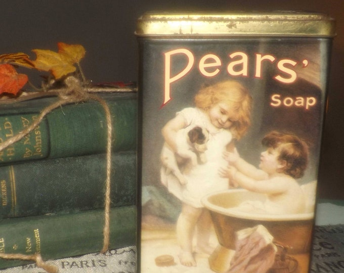 Vintage (1980s) Pears Soap reproduction tin.  Tin made in England. Great bathroom decor and storage.