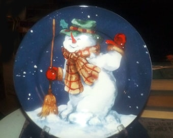 Set of 4 Christmas dinner plates or chargers. Snowmen. The Edith Collection by Mary Parker. Made for Sears in Canada.
