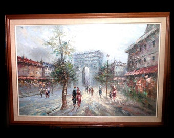 19th Century (1890s) Marie Charlot original oil on canvas of l'Arc de Triomphe and Paris street scene. Signed bottom right.