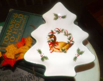 Vintage (1980s) NC Cameron Japan figural Christmas-tree shaped nut | candy dish. Central goose, red ribbons, holly, berries.